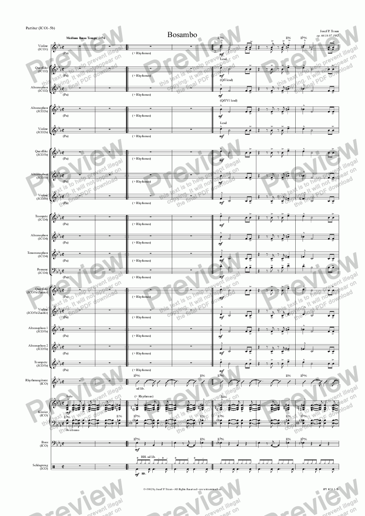 page one of Bosambo (JCO/Score & Parts)