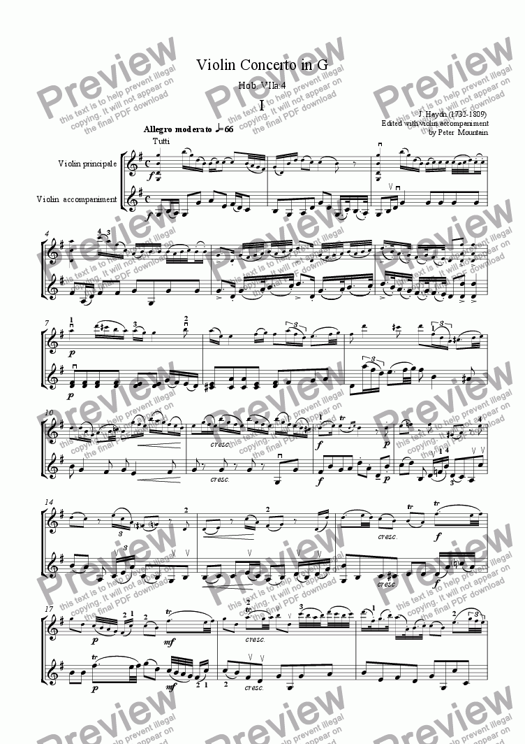 page one of Haydn Violin Concerto in G