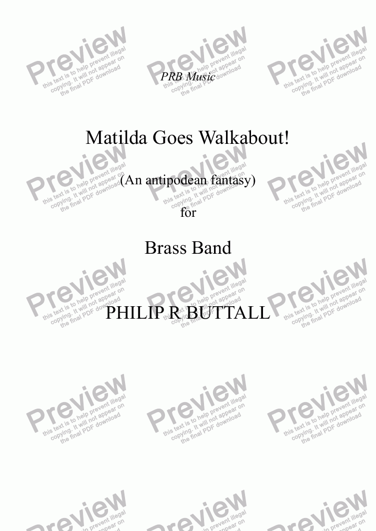 page one of Matilda Goes Walkabout! (Brass Band)