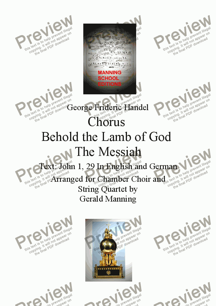 page one of Reliquary of Sacred Music - Handel, G.F. - Chorus - Behold the Lamb of God from The Messiah - arr. for Chamber Choir and String Quartet by Gerald Manning