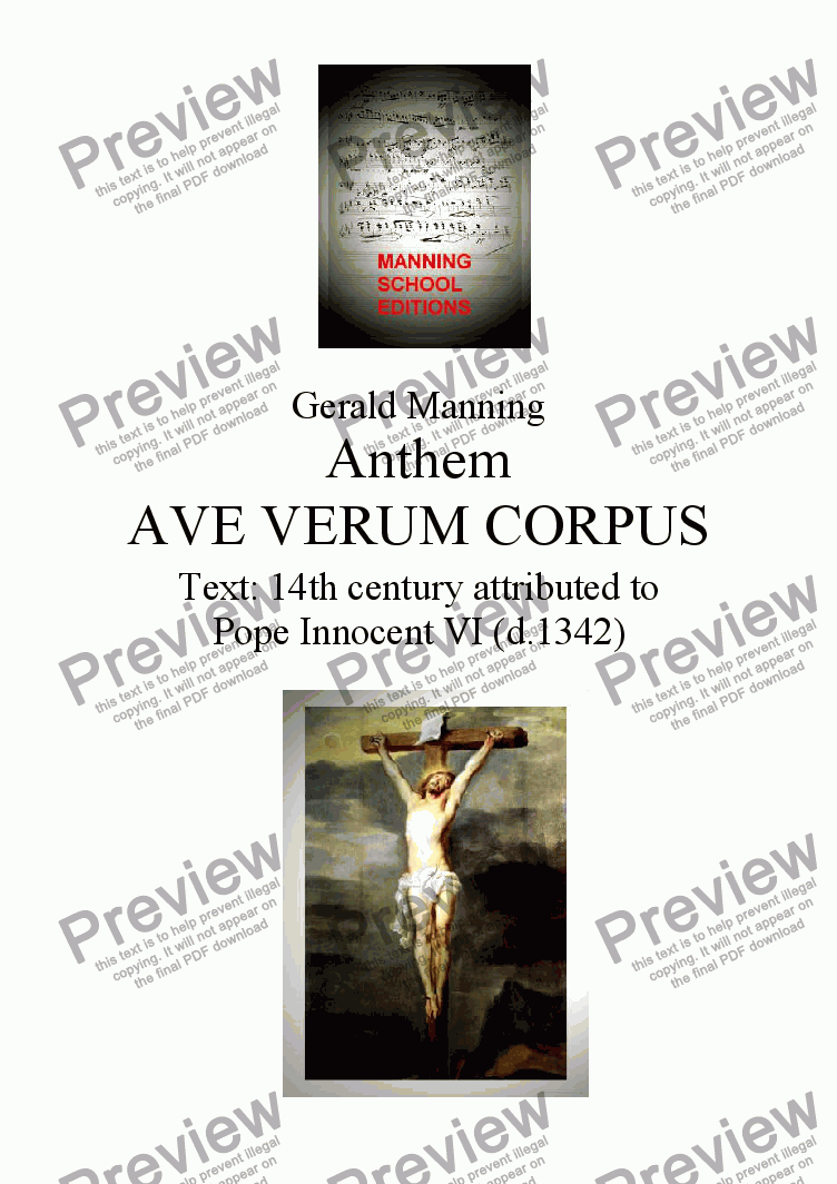page one of Anthems For All Occasions -  Ave Verum Corpus, Op.18 - Manning, Gerald. - For A cappella Choir with optional Organ or Pianoforte