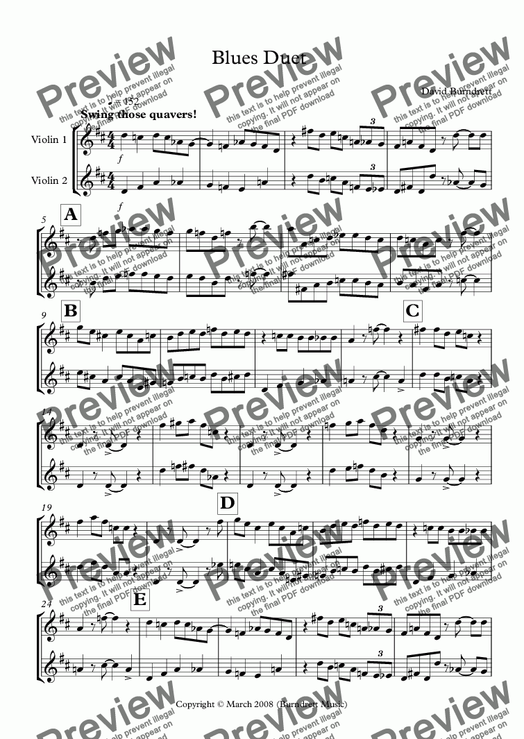 page one of Blues Duet for Violin