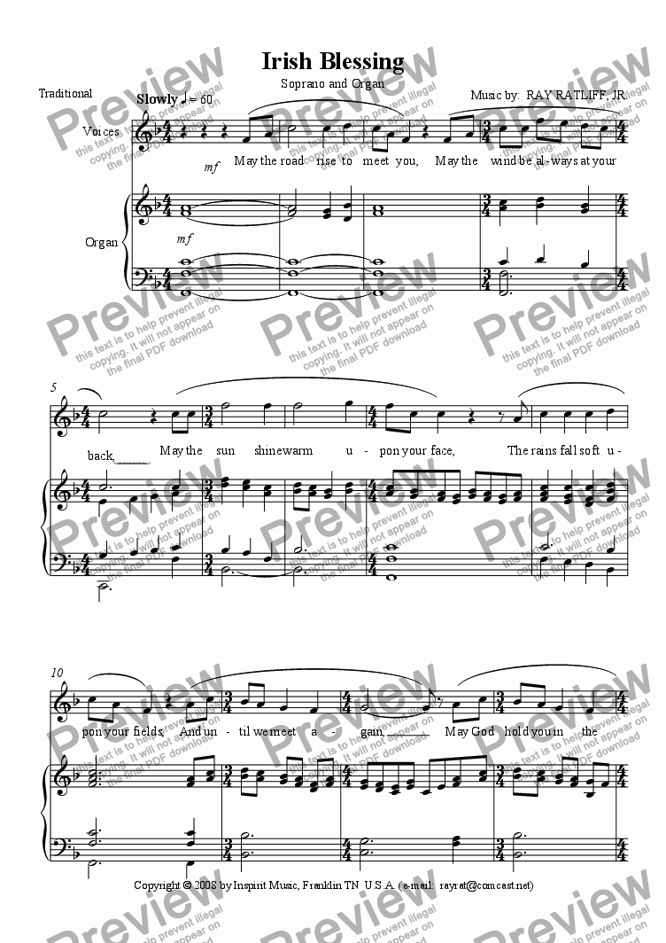 page one of Irish Blessing (Soprano and Organ)