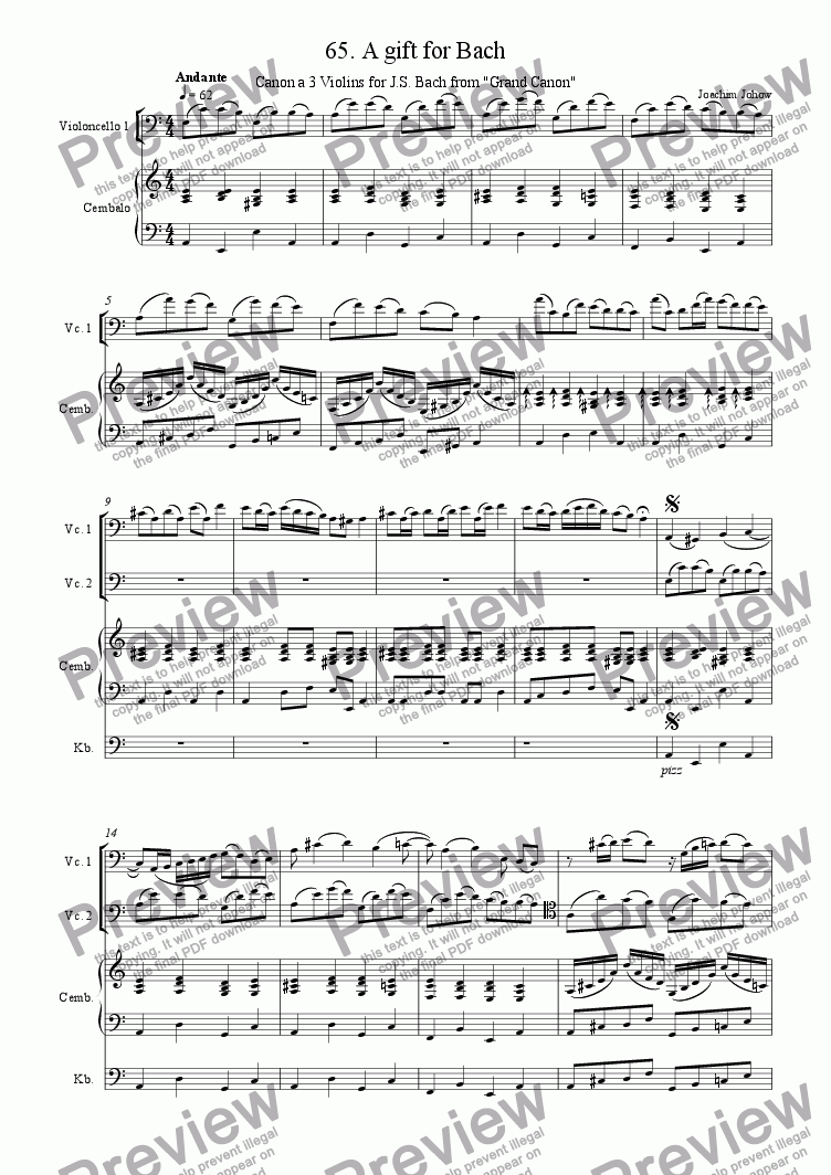 page one of Grand Canon 65 (A gift for Bach - 3 Violoncelli)