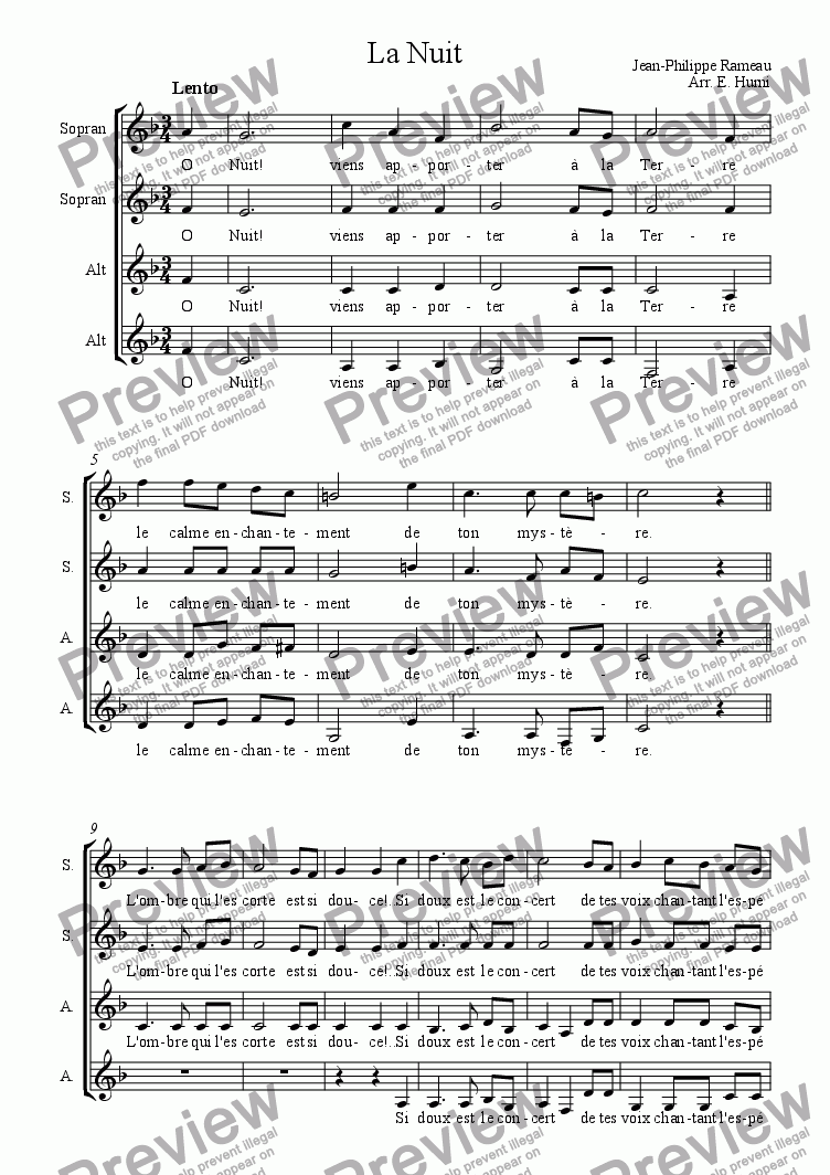 page one of La nuit, by Rameau; for Choir