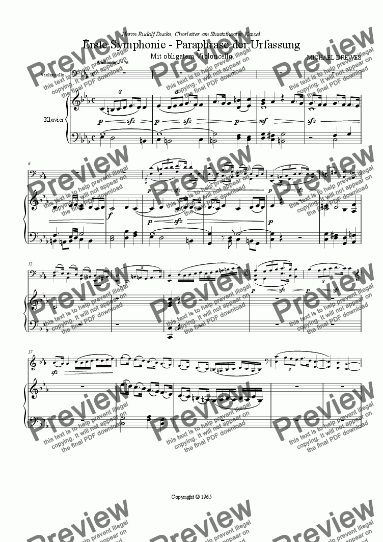 page one of Symphony No. 1, Original VersionASALTTEXT