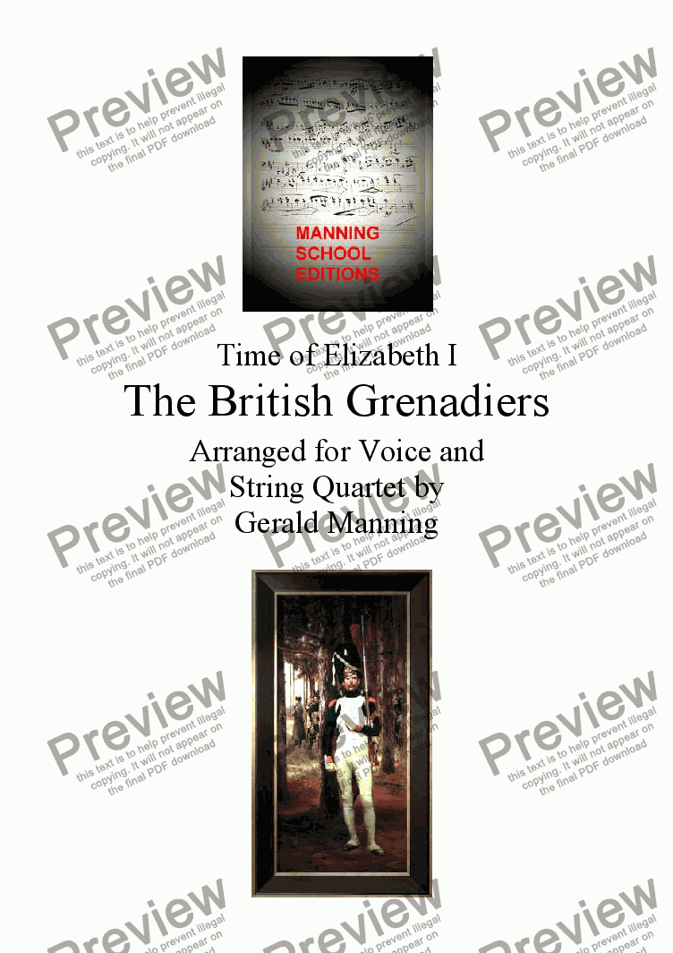page one of English Song: Anonymous - The British Grenadiers - arr. for Voice & String Quartet by Gerald Manning