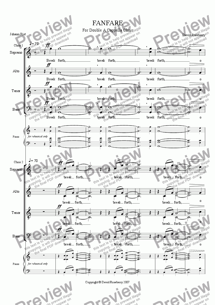 page one of Fanfare for A Cappella Double Choir