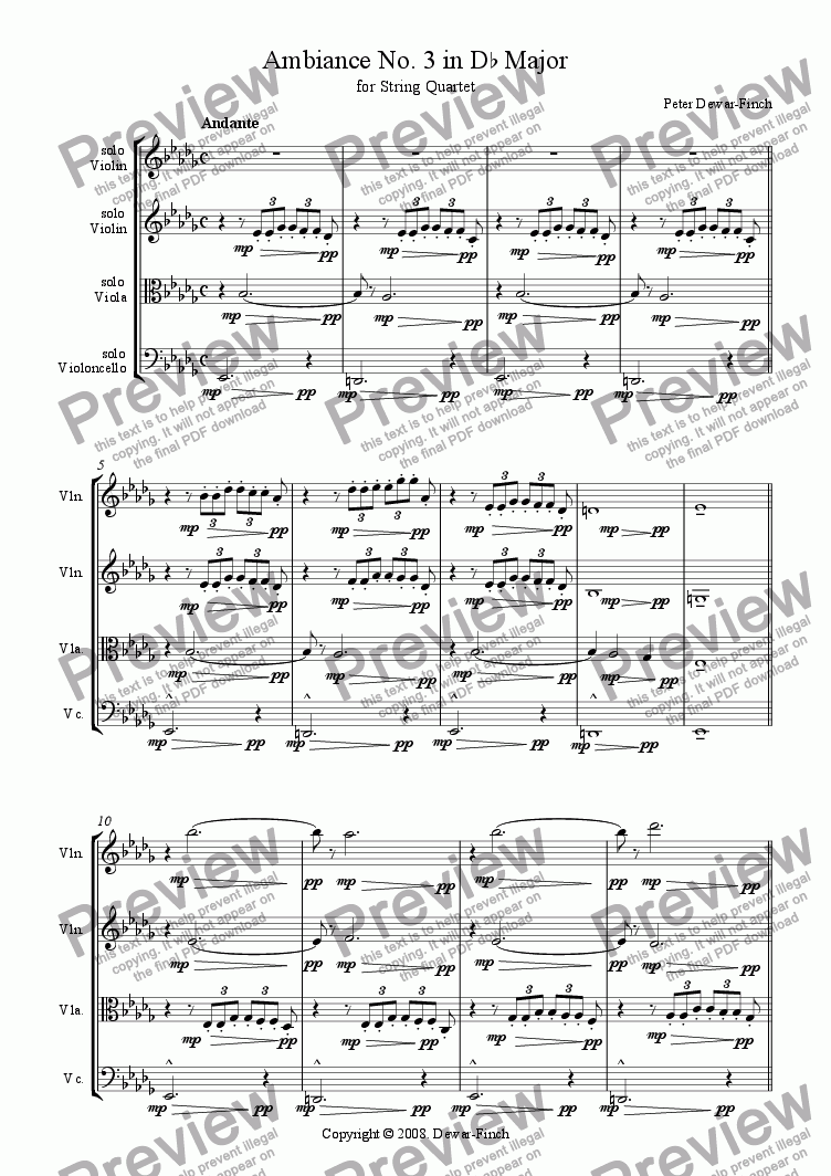 page one of Ambiance No. 3 in D flat Major for String Quartet