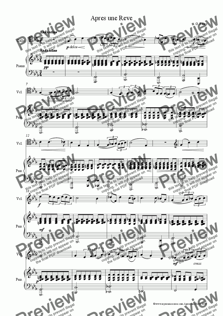 page one of Faure Apres une Reve for Cello and Piano