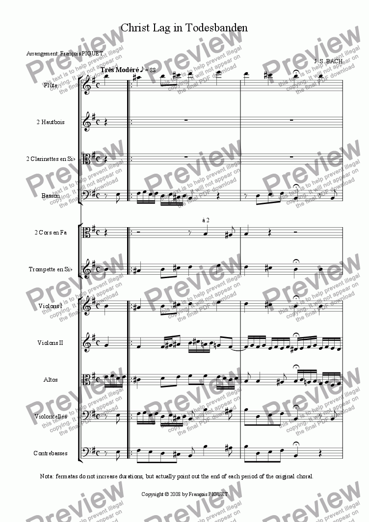 "page one of J.-S. BACH: ""Christ Lag in Todesbanden"", Chorale Prelude for Organ arranged for a chamber orchestra by Fran�ois PIGUET"