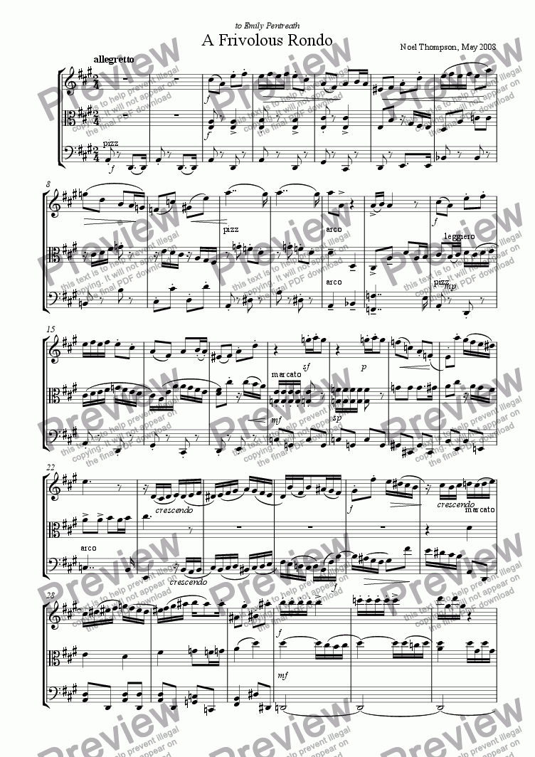 page one of Frivolous Rondo for String Trio