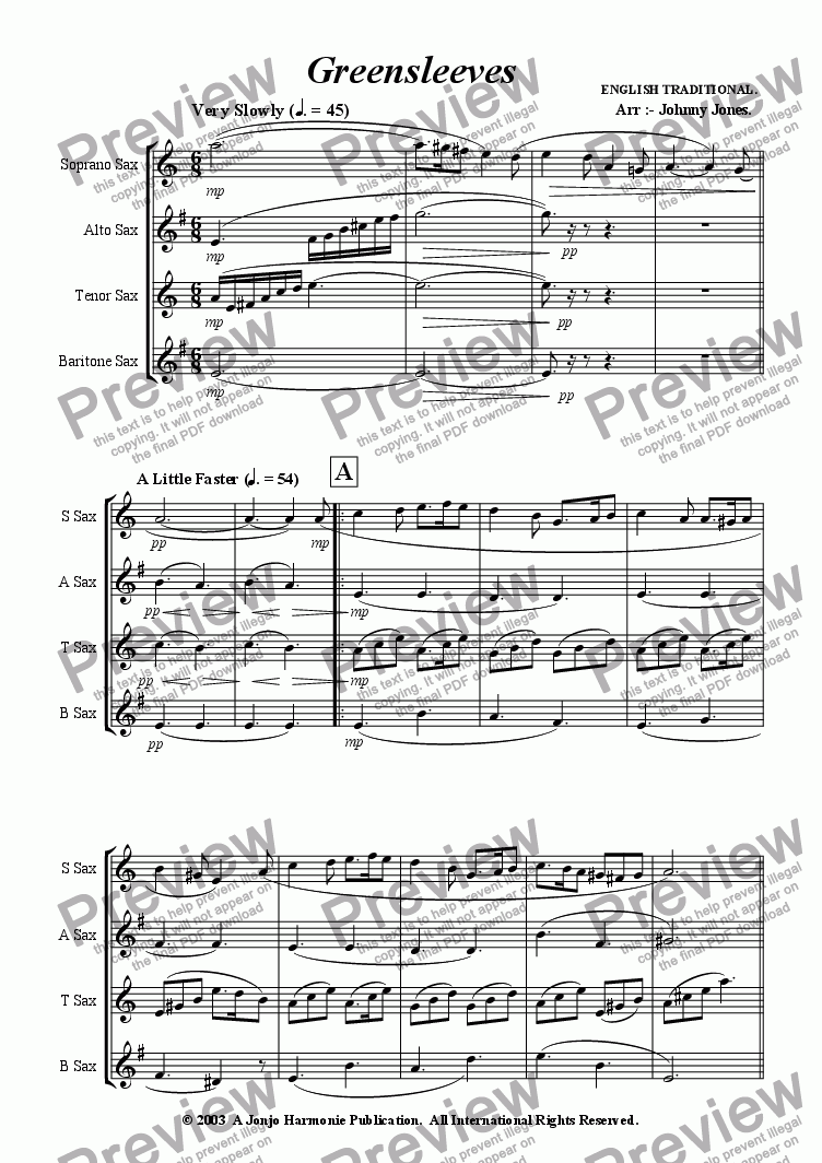 page one of Greensleeves   (Saxophone Quartet)