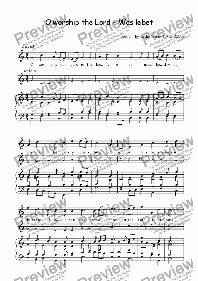 page one of Descant (vocal/instrumental) to Was lebet (O worship the Lord)