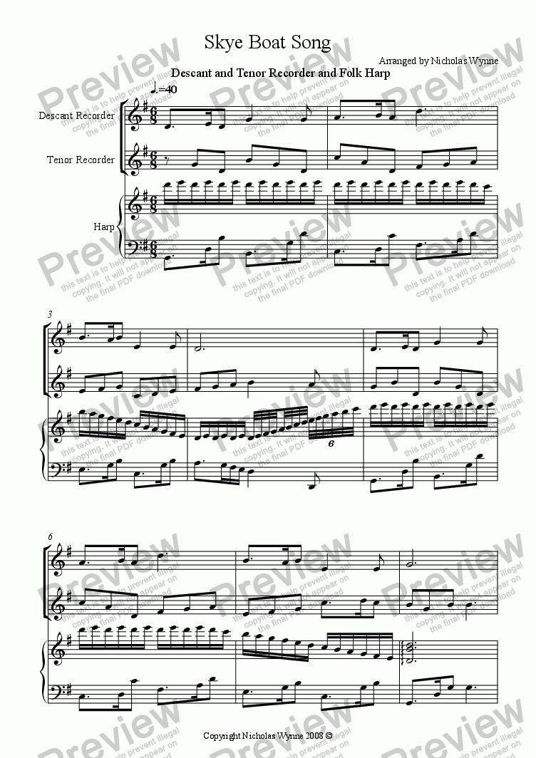 page one of Skye Boat Song for Descant and Tenor Recorder and Folk Harp