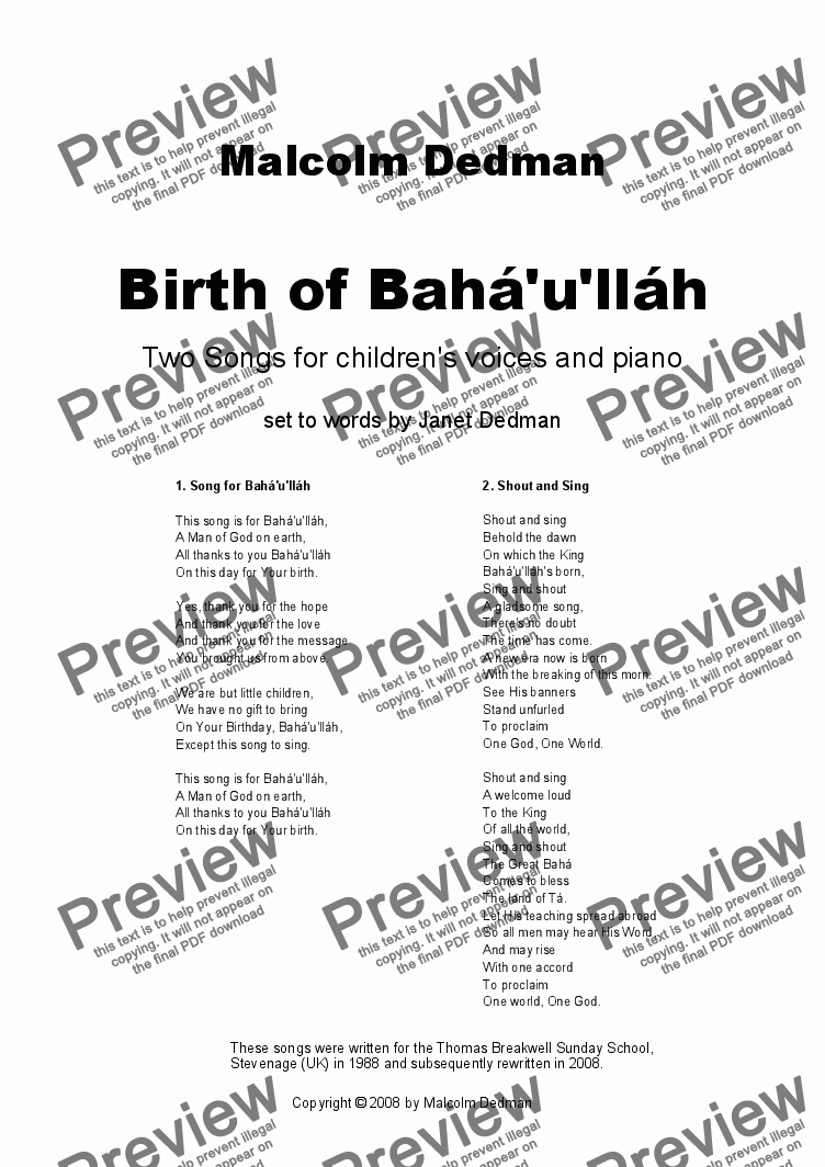 page one of Birth of Bahá'u'lláh