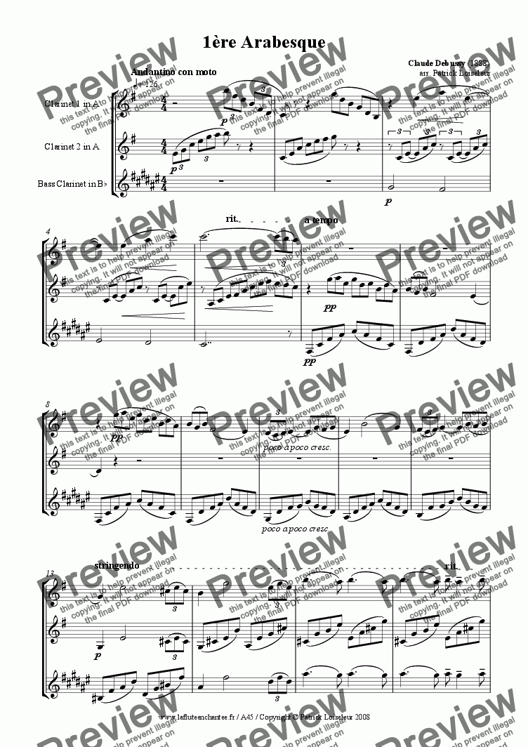 page one of Debussy: Arabesque no 1 for clarinet trio