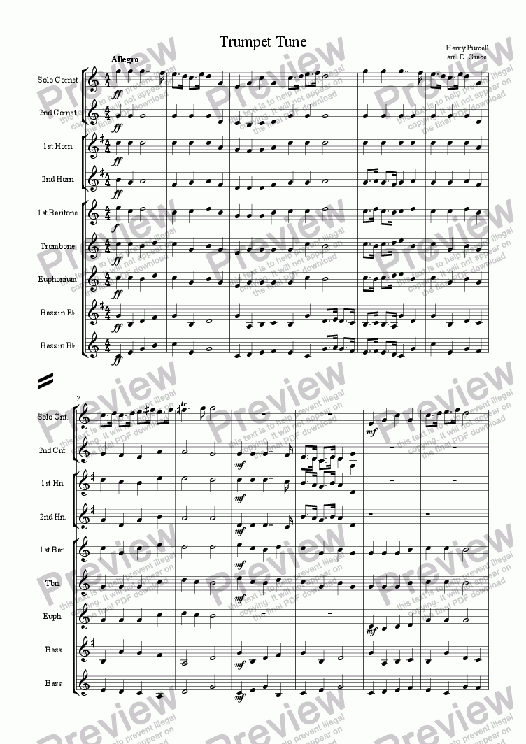 page one of Trumpet Tune [Purcell]