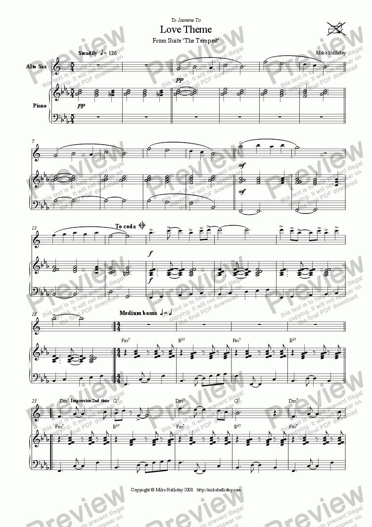 page one of 2. Love Theme from Suite 'The Tempest'