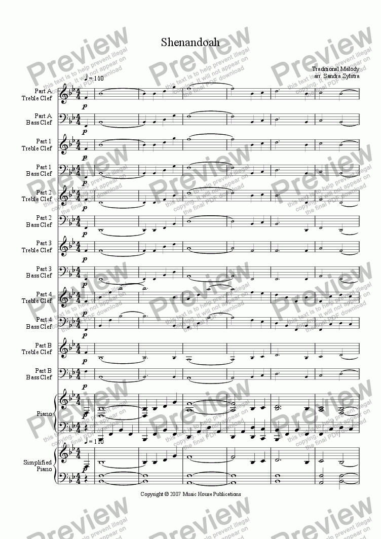 page one of Instant Ensemble: Shenandoah