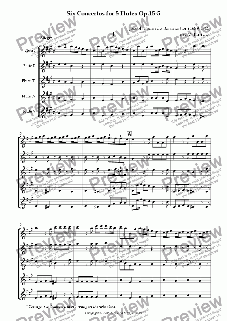 page one of Six Concertos No.5 for five Flutes Op.15-5ASALTTEXT