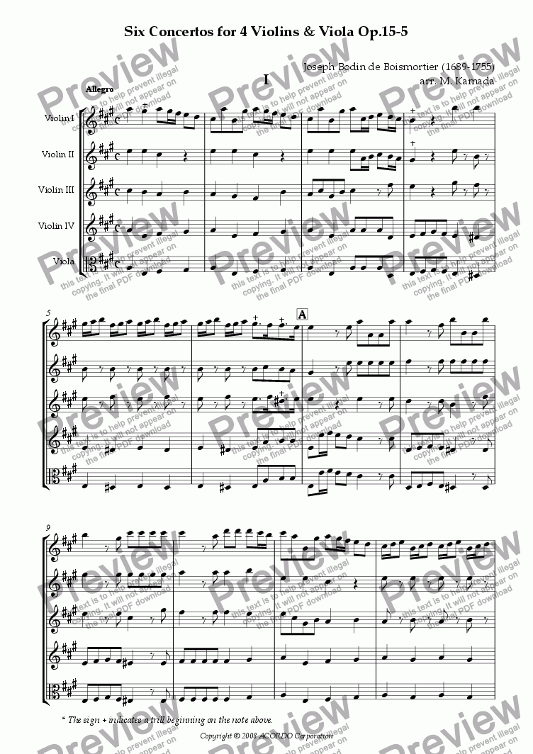 page one of Six Concertos No.5 for four Violins & Viola Op.15-5