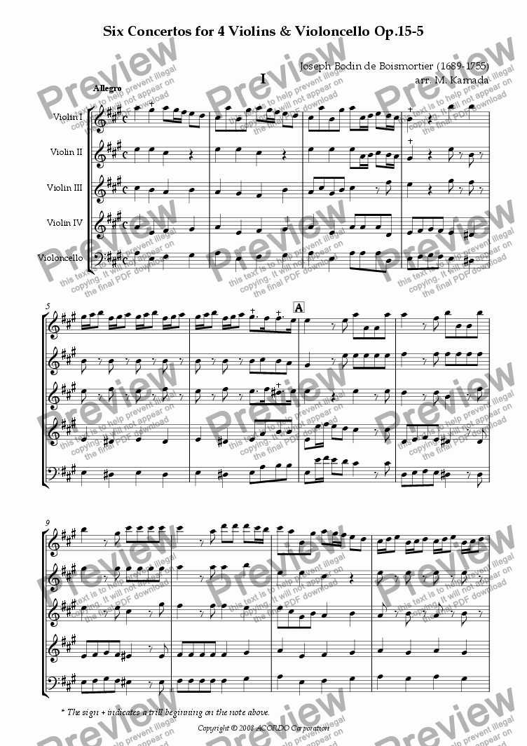 page one of Six Concertos No.5 for four Violins & Violoncello Op.15-5