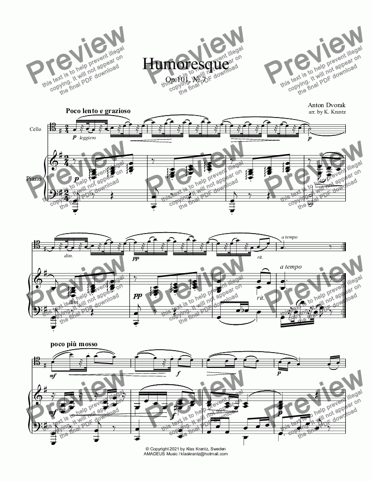 page one of Humoresque Op. 101, No. 7 for cello and pianoASALTTEXT