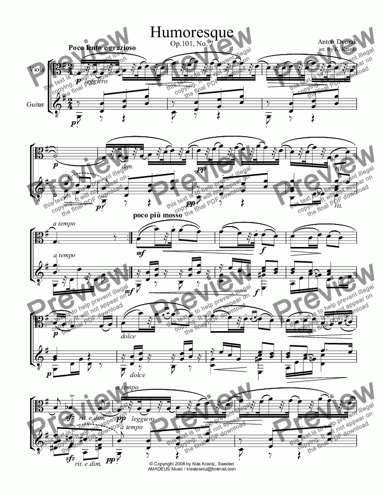 page one of Humoresque Op. 101, No. 7 for viola and guitar