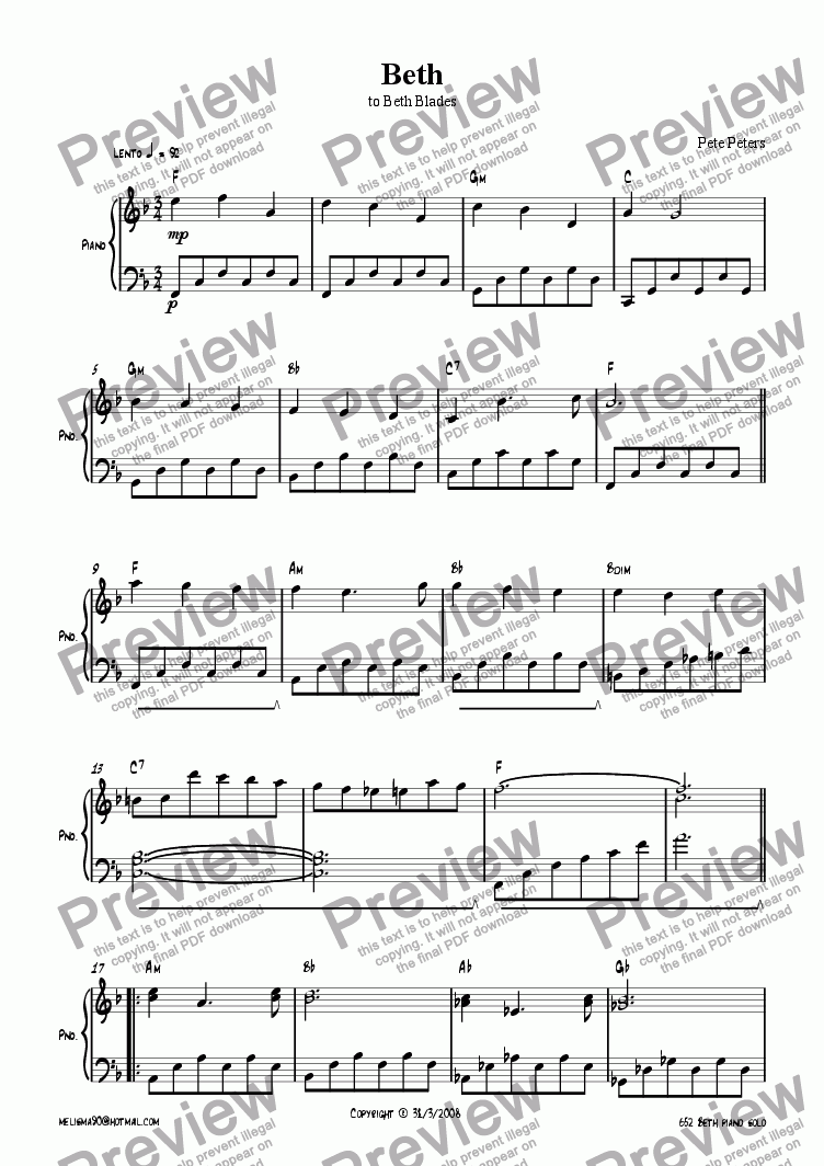 page one of Beth [easy piano solo]ASALTTEXT