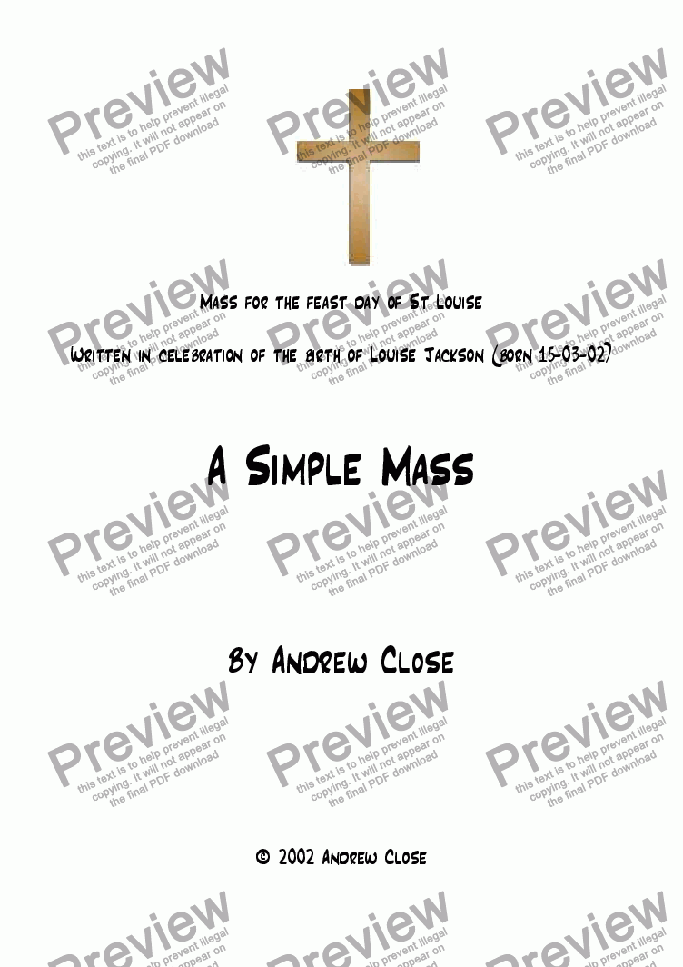 page one of A Simple Mass (SATB)