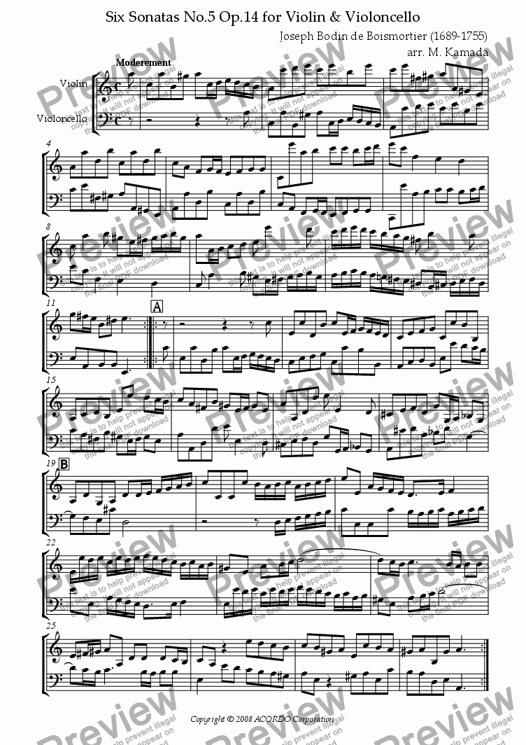 page one of Sonata (Duet) for Violin & Violoncello Op.14-5ASALTTEXT