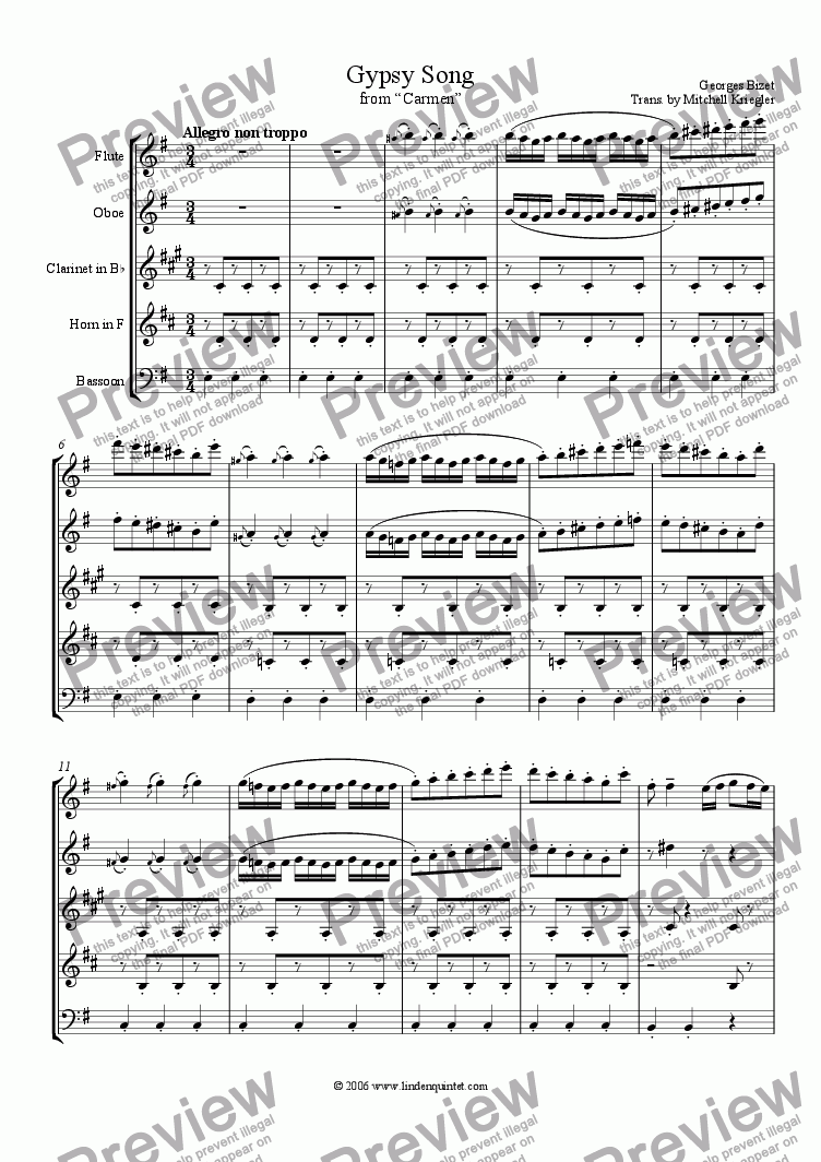 "page one of Bizet - Gypsy Song from ""Carmen"""