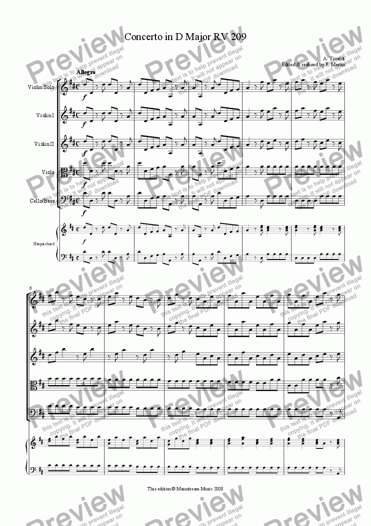 page one of Concerto in D Major for violin, strings & continuo RV 209