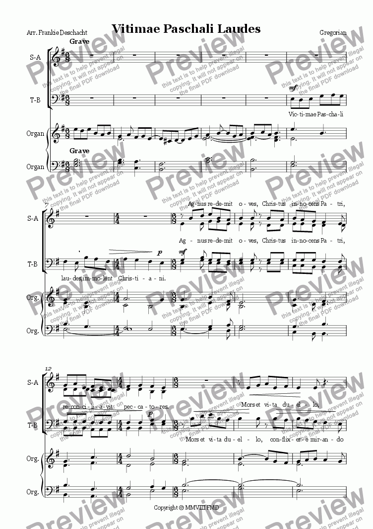 page one of Victimae Paschali Laudes