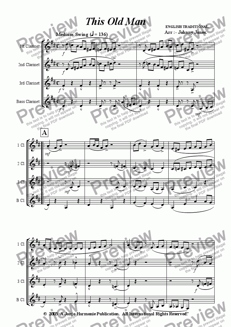 page one of This Old Man   (Clarinet Quartet)