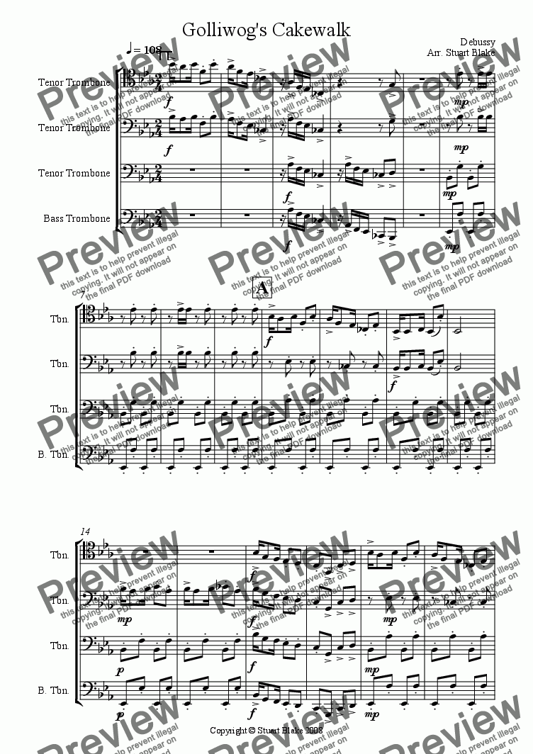 page one of Golliwog's Cakewalk (Trombone Quartet)