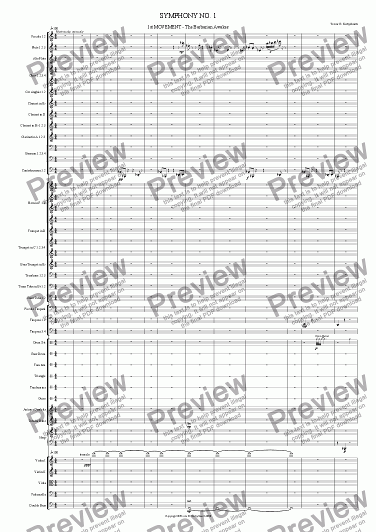 page one of Opus 20 Orchestral Suite No 1 1st Movement