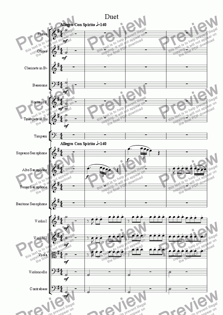 page one of Saxophone Opera, Scene 2 : Duet