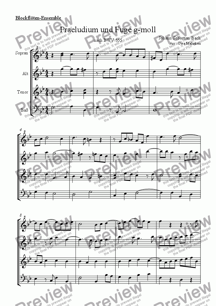 page one of Praeludium und Fuge BWV 555