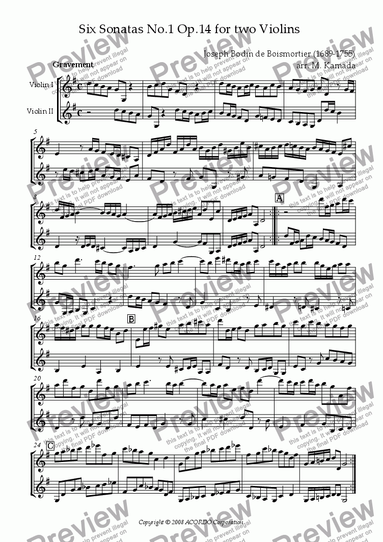 page one of Sonata (Duet) for Two Violins Op.14-1