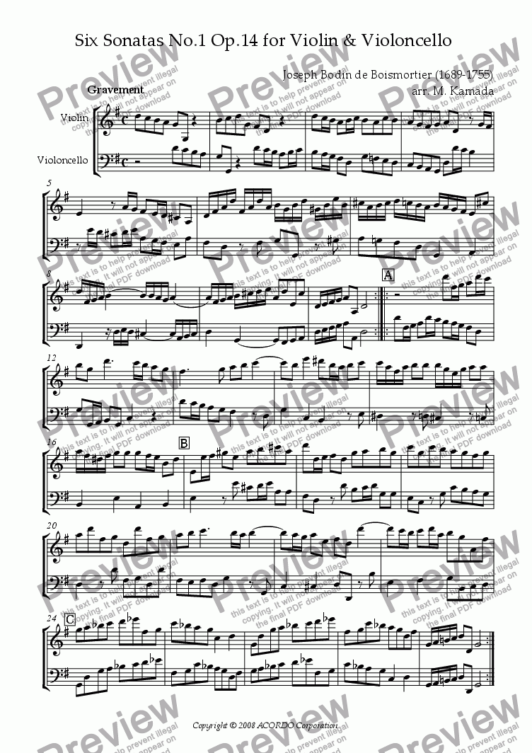 page one of Sonata (Duet) for Violin & Violoncello Op.14-1