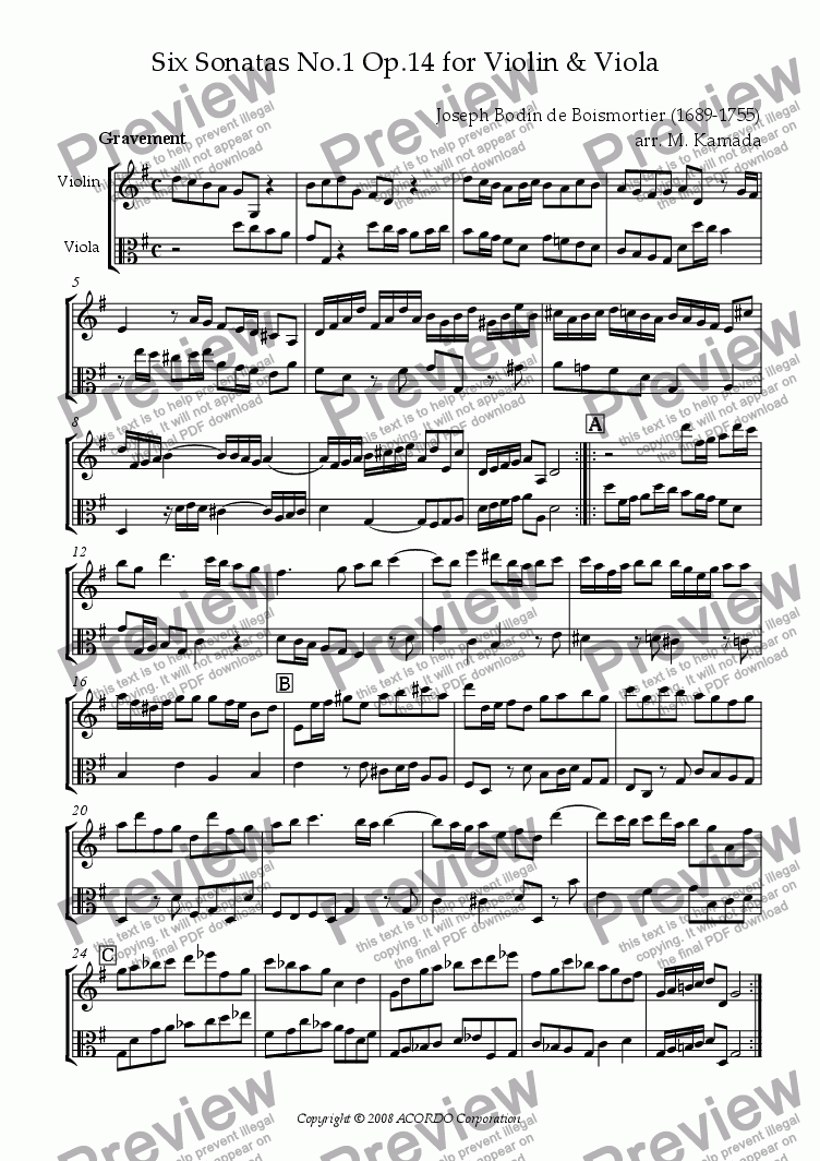 page one of Sonata (Duet) for Violin & Viola Op.14-1