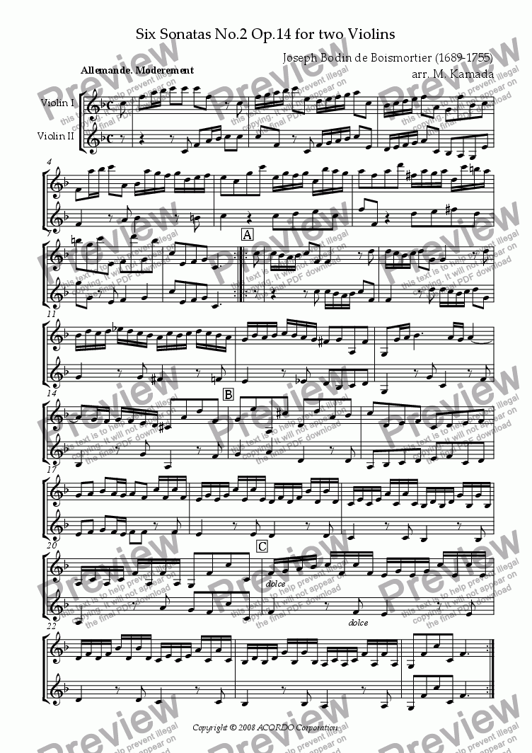 page one of Sonata (Duet) for Two Violins Op.14-2