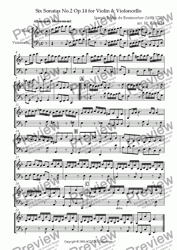 page one of Sonata (Duet) for Violin & Violoncello Op.14-2