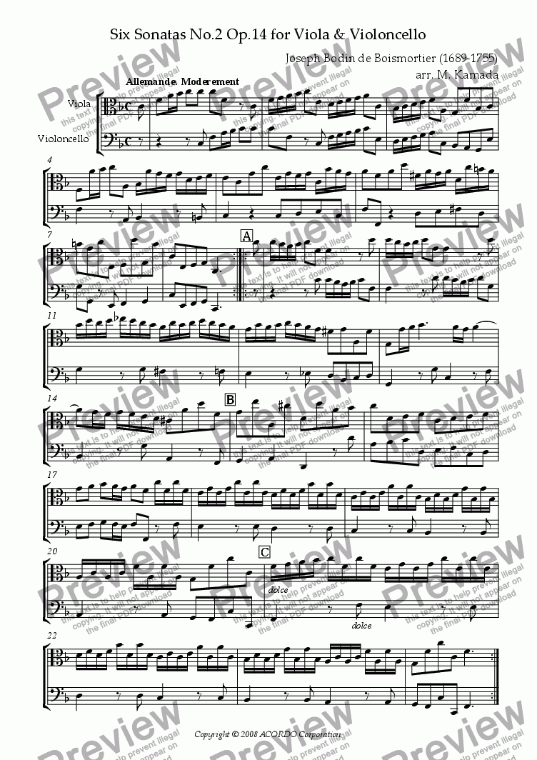 page one of Sonata (Duet) for Viola & Violoncello Op.14-2