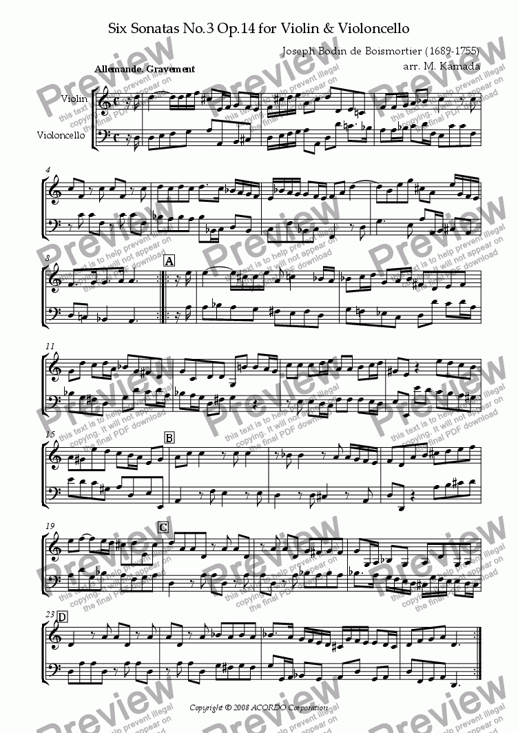 page one of Sonata (Duet) for Violin & Violoncello Op.14-3