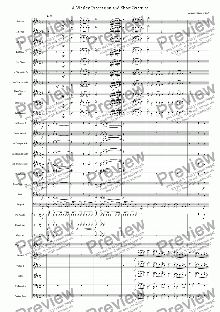 page one of A Wesley Overture