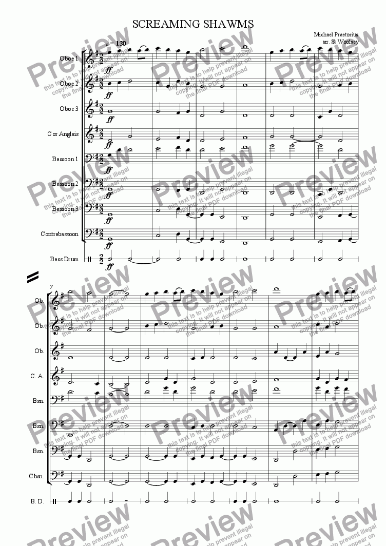 page one of Screaming Shawms for Double Reed Ensemble