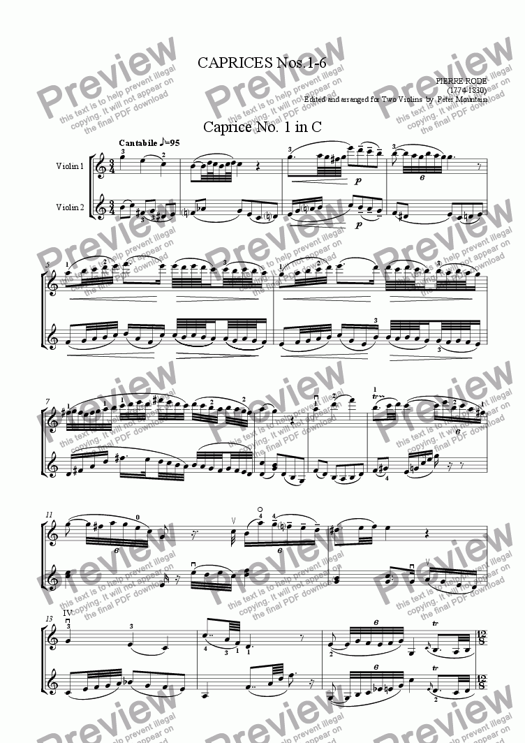 page one of Caprices Nos. 1-6 by Pierre Rode for Violin Duet